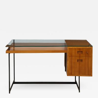 Jacques Adnet FRUITWOOD DESK WITH GLASS TOP BY ADNET