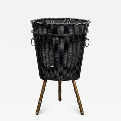 Jacques Adnet Faux Bamboo Wastepaper Basket