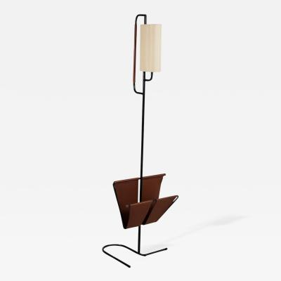 Jacques Adnet Floor Lamp with Magazine Rack by Jacques Adnet