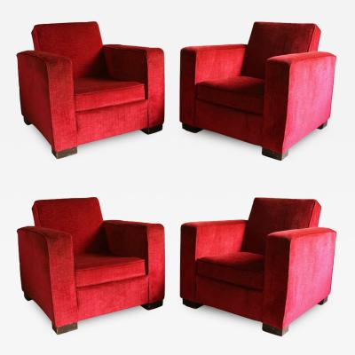 Jacques Adnet Four French Art Deco Club Armchairs