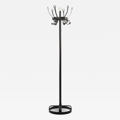 Jacques Adnet French Mid Century Coat Hanger Jacques Adnet Steel Black Leather Brass