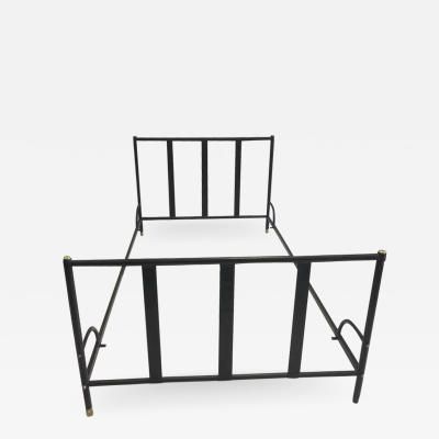 Jacques Adnet French Mid Century Modern Hand Stitched Black Leather Bed by Jacques Adnet 1955
