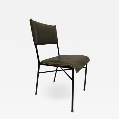 Jacques Adnet French Mid Century Modern Hand Stitched Leather Desk Side Chair Jacques Adnet