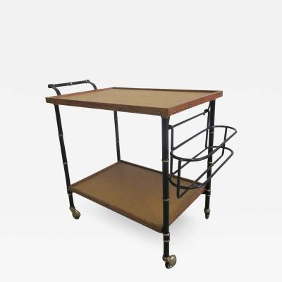 Jacques Adnet French Mid Century Modern Leather Steel Bar Cart Serving Cart by Jacques Adnet