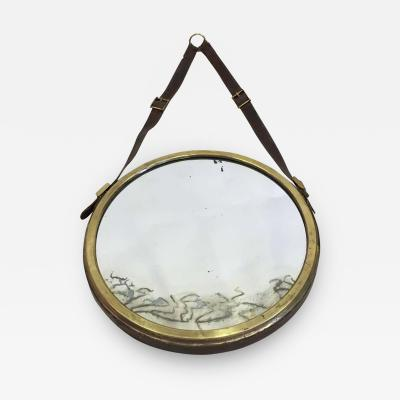 Jacques Adnet French Mid Century Modern Neoclassical Leather Wrapped Mirror Jacques Adnet