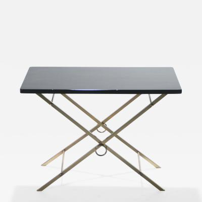 Jacques Adnet French Mid century black Lacquer and brass side table Adnet Style 1960s