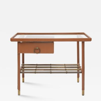 Jacques Adnet French Midcentury Cognac Leather Glass Side Table With Drawer by Jacques Adnet