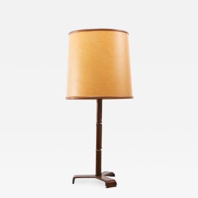 Jacques Adnet French Midcentury Desk Lamp Jacques Adnet Steel Tan Leather Brass