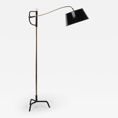 Jacques Adnet French Midcentury Floor Lamp Jacques Adnet Steel Black Leather Brass