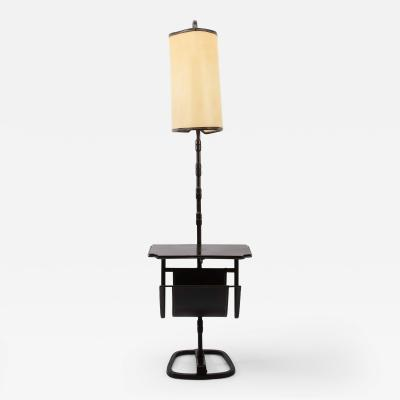 Jacques Adnet French Midcentury Floor Table Lamp Jacques Adnet Saddle Stitched Leather