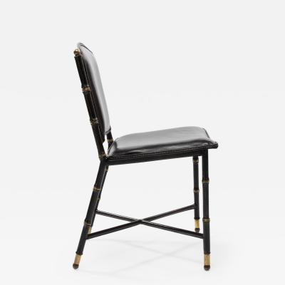 Jacques Adnet French Midcentury Set of 6 chairs In Black Stitched Leather by Jacques Adnet
