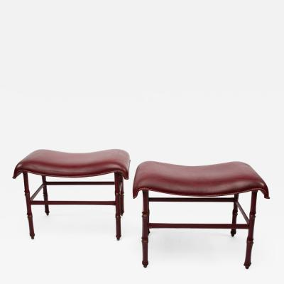 Jacques Adnet French Midcentury Steel Bronze Dark Red Leather Stools by Jacques Adnet