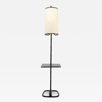 Jacques Adnet French Midcentury Steel and Leather Floor Lamp with Table by Jacques Adnet