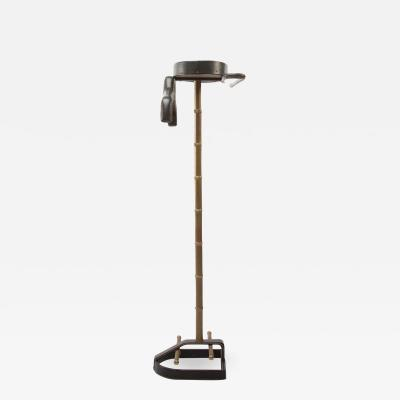 Jacques Adnet French Midcentury Valet Jacques Adnet Steel Black Leather Brass