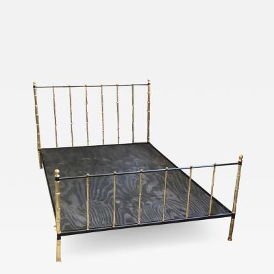 Jacques Adnet French Modern Neoclassical Steel Brass Faux Bamboo Bed by Jacques Adnet 1955