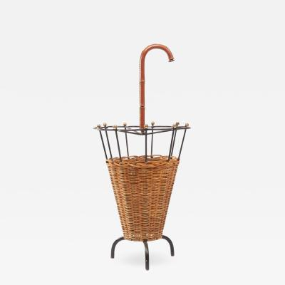 Jacques Adnet French steel bronze rattan and leather umbrella stand attributed to Adnet