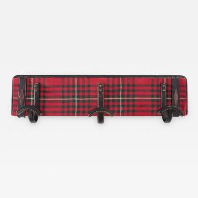 Jacques Adnet Fully Original Jacques Adnet Coat Hanger in Leather and Tartan Plaid Wool