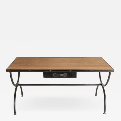 Jacques Adnet Important Stitched Leather Desk by Jacques Adnet