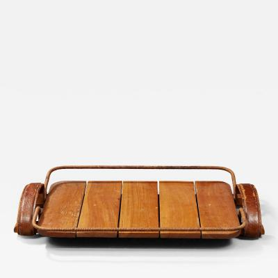 Jacques Adnet JACQUES ADNET 1900 1984 NATURAL WOOD TRAY LEATHER AND ROPE CIRCA 1950