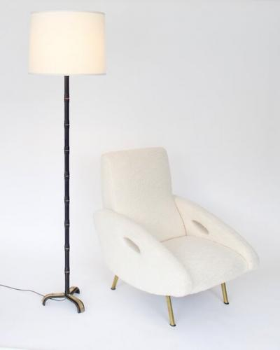 Jacques Adnet JACQUES ADNET BLACK LEATHER AND BRASS FRENCH FLOOR LAMP