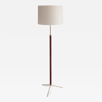 Jacques Adnet JACQUES ADNET LEATHER AND BRASS FLOOR LAMP