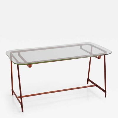 Jacques Adnet JACQUES ADNET LEATHER AND GLASS COFFEE TABLE