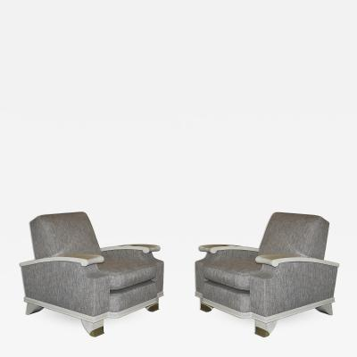 Jacques Adnet Jacques ADNET Model of Pair of large comfortable armchairs