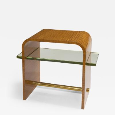 Jacques Adnet Jacques Adnet 1930s Side Table with Glass Shelf