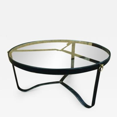 Jacques Adnet Jacques Adnet 1940s Black Hand Stitched Leather Tripod Coffee Table