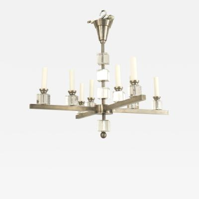 Jacques Adnet Jacques Adnet 1940s Modernist Silvered Metal Chandelier