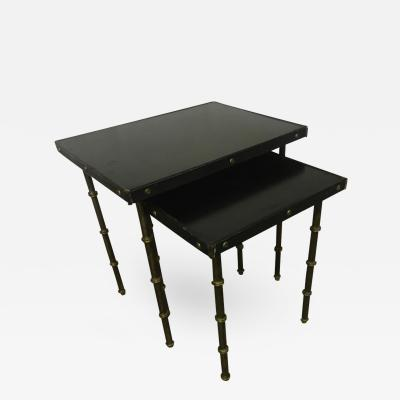 Jacques Adnet Jacques Adnet Black Hand Stitched Leather Nest Tables
