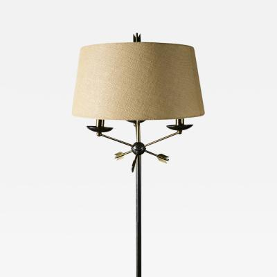 Jacques Adnet Jacques Adnet Brass and Chrome Floor Lamp