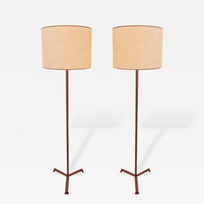 Jacques Adnet Jacques Adnet Brown Hand Stitched Leather Pair of Standing Lamps Tripod Base