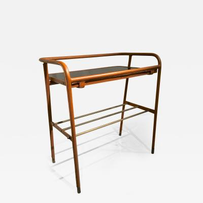 Jacques Adnet Jacques Adnet Brown Hand Stitched Leather Side Table