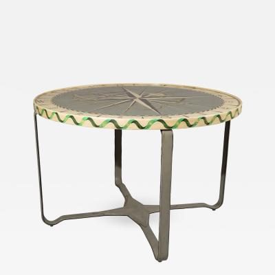 Jacques Adnet Jacques Adnet Centre Table with Hand Painted Nautical Theme