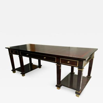 Jacques Adnet Jacques Adnet Exceptional Neoclassic Large President Desk with Leather Top