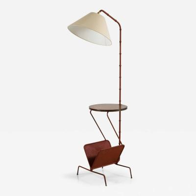 Jacques Adnet Jacques Adnet Floor Lamp with Table and Magazine Rack