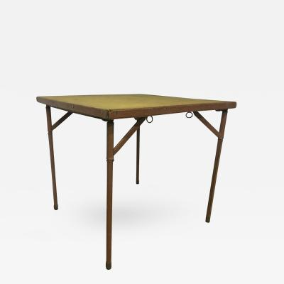 Jacques Adnet Jacques Adnet Folding Playing Card Table in Brown Leather