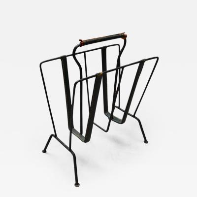 Jacques Adnet Jacques Adnet Green Leather Magazine Rack