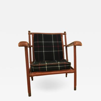 Jacques Adnet Jacques Adnet Hand Stitched Leather Lounge Chair