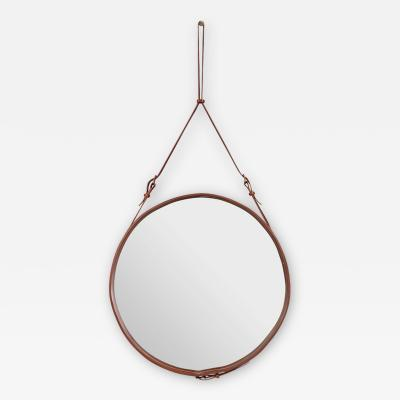 Jacques Adnet Jacques Adnet Large Circulaire Mirror with Brown Leather
