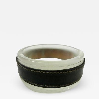 Jacques Adnet Jacques Adnet Leather and Glass Ashtray or Catchall