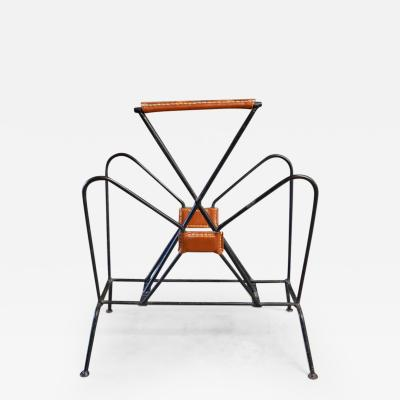 Jacques Adnet Jacques Adnet Leather and Iron Magazine Rack