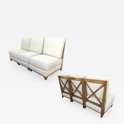 Jacques Adnet Jacques Adnet Oak Couch made of 3 Sleeper Chair Separable into a Couch