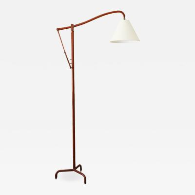 Jacques Adnet Jacques Adnet Original Leather Floor Lamp
