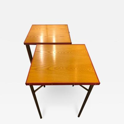 Jacques Adnet Jacques Adnet Pair Of High Tables Wood And Leather Circa 1950