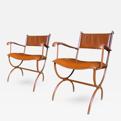 Jacques Adnet Jacques Adnet Pair of Armchairs in Hand Stitched Brown Leather