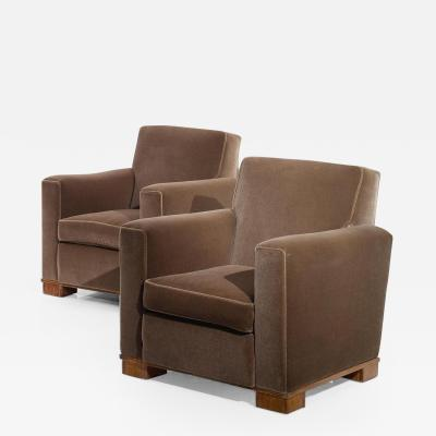 Jacques Adnet Jacques Adnet Pair of Modernist Club Armchairs France c 1930