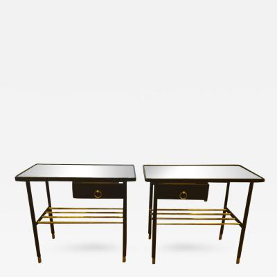 Jacques Adnet Jacques Adnet Pair of Night Stands in Hand Stitched Black Leather