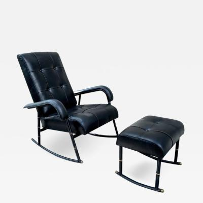 Jacques Adnet Jacques Adnet Rare Rocking Chair and Footstool in Black Hand Stitched Leather